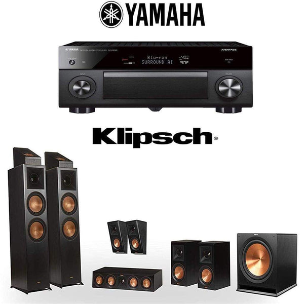 Klipsch Reference Premiere RP-8000F 5.1.4 Dolby Atmos Home Theater System with Yamaha AVENTAGE RX-A3080 9.2-Channel 4K Home Theater AV Re...