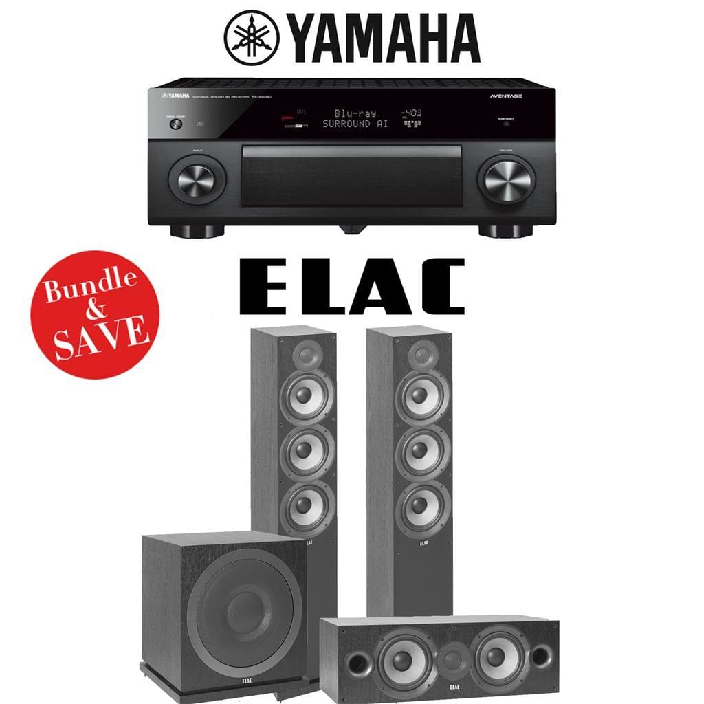 Yamaha AVENTAGE RX-A2080 9.2-Channel 4K Ultra HD AV Receiver + Elac F6.2 + Elac C6.2 + Elac Sub3030-3.1-Ch Home Theater Package - Stereo Advantage