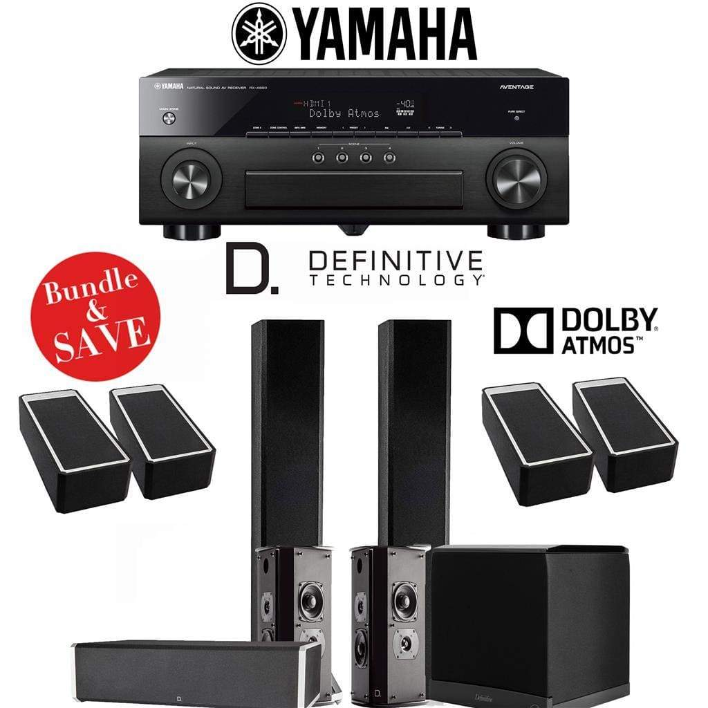 Definitive Technology BP9060 5.1.4-Ch Dolby Atmos High Performance Home Theater Speaker System with Yamaha AVENTAGE RX-A880BL 7.2-Ch 4K N... - Stereo Advantage