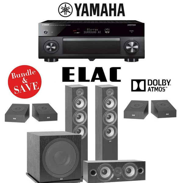 Elac F6.2 Debut 2.0 3.1.4-Ch Dolby Atmos Home Theater System with Yamaha AVENTAGE RX-A2080 9.2-Channel 4K Network AV Receiver