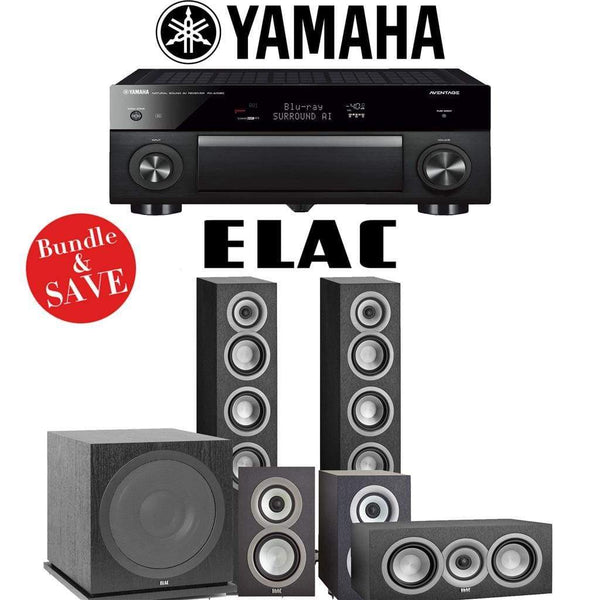 Elac Uni-Fi UF5 5.1-Ch Home Theater Speaker System with Yamaha AVENTAGE RX-A1080 7.2-Channel 4K Network A/V Receiver