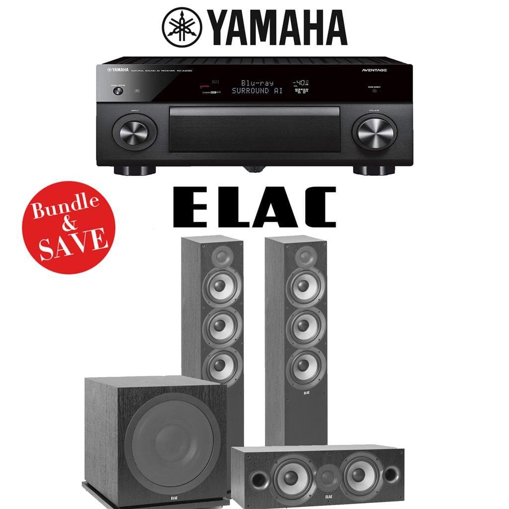 Yamaha AVENTAGE RX-A3080 9.2-Channel 4K Ultra HD Network AV Receiver + Elac F6.2 + Elac C6.2 + Elac Sub3030-3.1-Ch Home Theater Package - Stereo Advantage