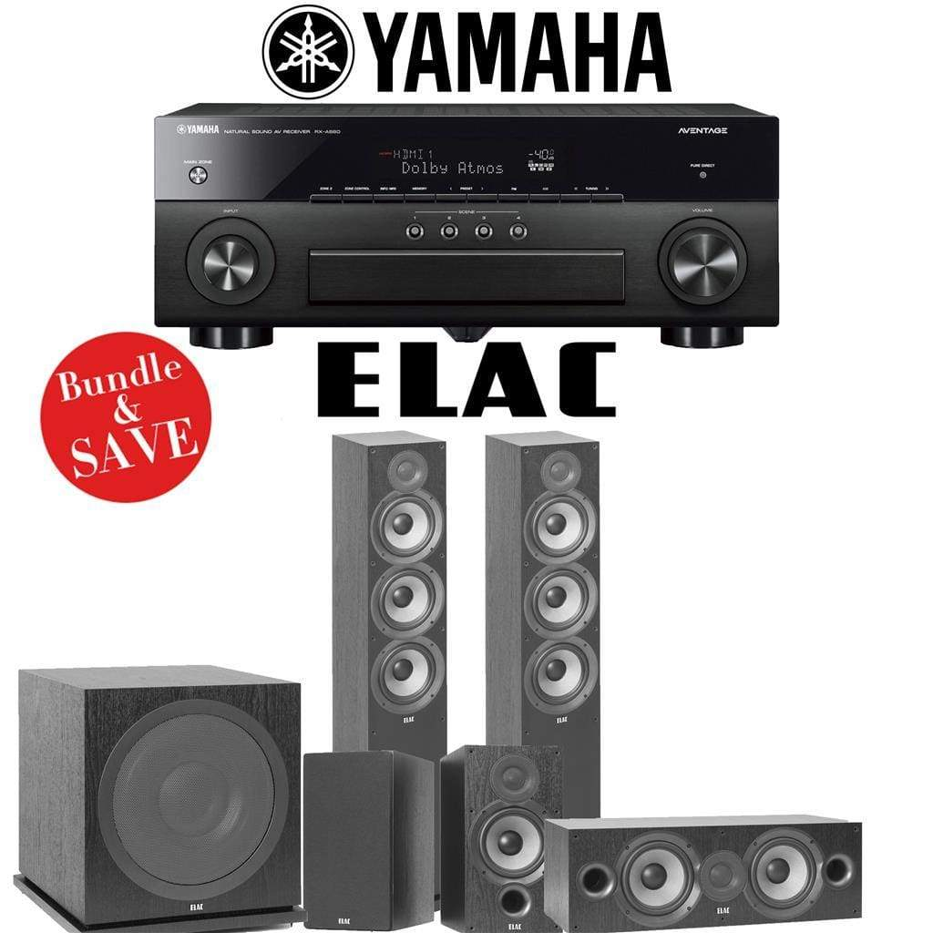 Elac F6.2 Debut 2.0 5.1-Ch Home Theater System with Yamaha AVENTAGE RX-A880 7.2-Channel 4K Networking AV Receiver - Stereo Advantage