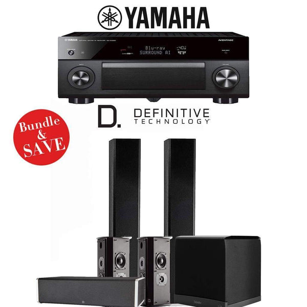 Definitive Technology BP9060 5.1-Ch High Performance Home Theater Speaker System with Yamaha AVENTAGE RX-A3080 9.2-Ch 4K Network A/V Rece...