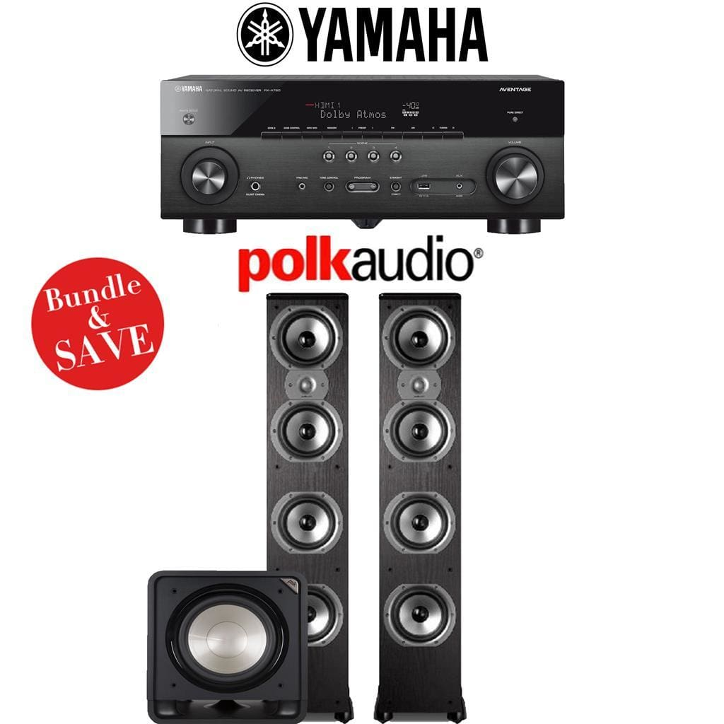 Yamaha RX-A780 AVENTAGE 7.2-Channel AV Receiver + Polk Audio TSi 500 + Polk Audio HTS12-2.1-Ch Home Theater Package - Stereo Advantage