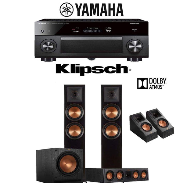 Klipsch RP-6000F 3.1.2-Ch Reference Premiere Dolby Atmos Home Theater Speaker System with Yamaha AVENTAGE RX-A3080 9.2-Channel 4K Network...