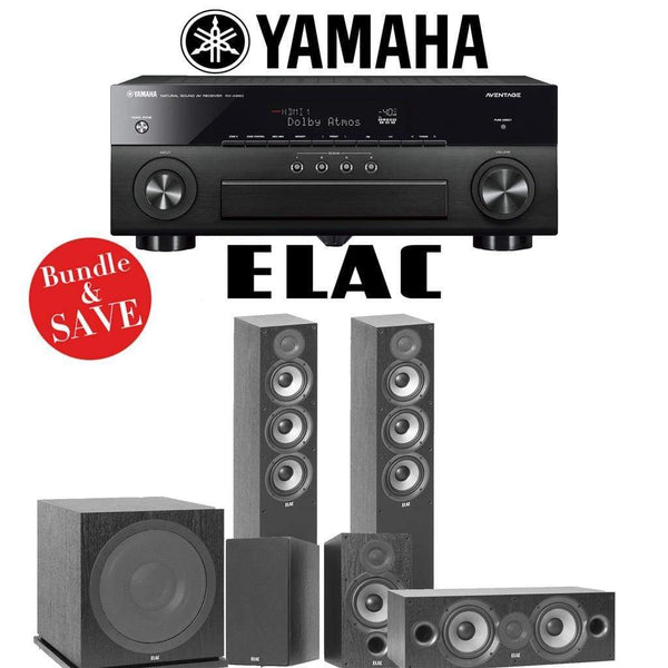 Elac F5.2 Debut 2.0 5.1-Ch Home Theater Speaker System with Yamaha AVENTAGE RX-A880 7.2-Channel 4K Network AV Receiver