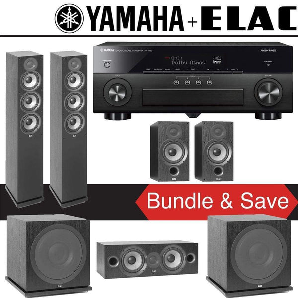 Elac F5.2 Debut 2.0 5.2-Ch Home Theater Speaker System with Yamaha AVENTAGE RX-A880 7.2-Channel 4K Network AV Receiver