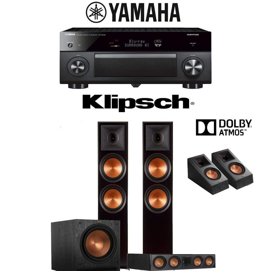 Klipsch RP-8000F 3.1.2-Ch Reference Premiere Dolby Atmos Home Theater Speaker System with Yamaha AVENTAGE RX-A2080 9.2-Channel 4K Network... - Stereo Advantage