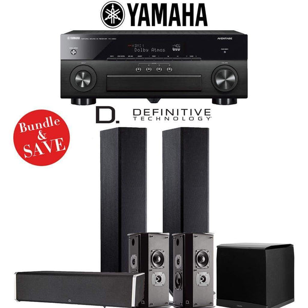 Definitive Technology BP9020 5.1-Ch High Performance Home Theater Speaker System with Yamaha AVENTAGE RX-A880BL 7.2-Ch 4K Network A/V Rec...