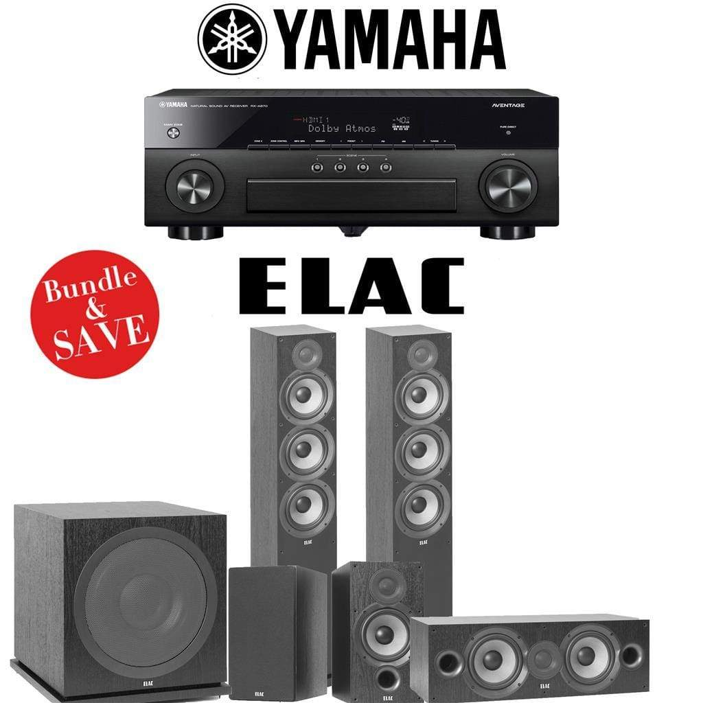 Elac F6.2 Debut 2.0 5.1-Ch Home Theater Speaker System with Yamah RX-A780 7.2-Channel 4K Network A/V Receiver - Stereo Advantage