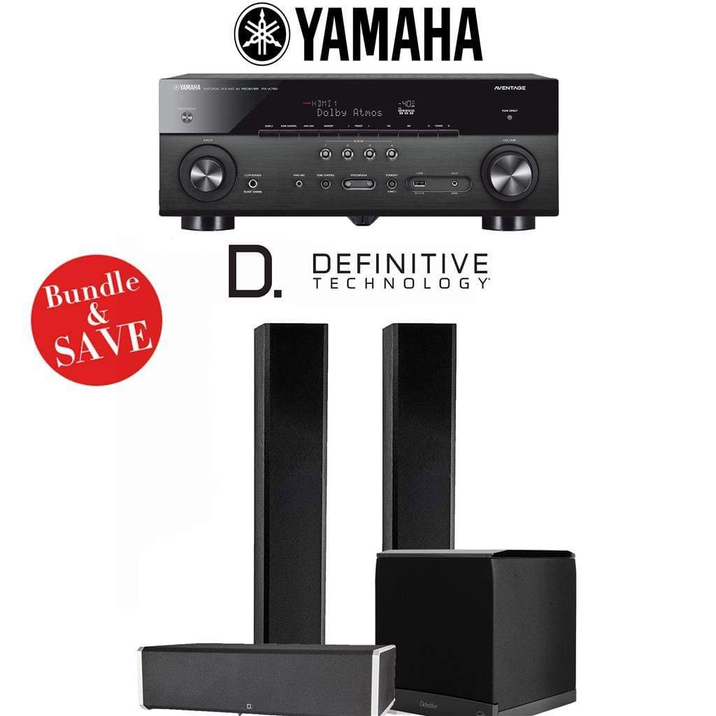Definitive Technology BP9060 3.1-Ch High Performance Home Theater Speaker System with Yamaha AVENTAGE RX-A780BL 7.2-Ch 4K Network A/V Rec... - Stereo Advantage