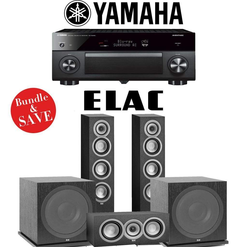 Elac Uni-Fi UF5 3.2-Ch Home Theater Speaker System with Yamaha AVENTAGE RX-A2080 9.2-Channel 4K Network A/V Receiver - Stereo Advantage