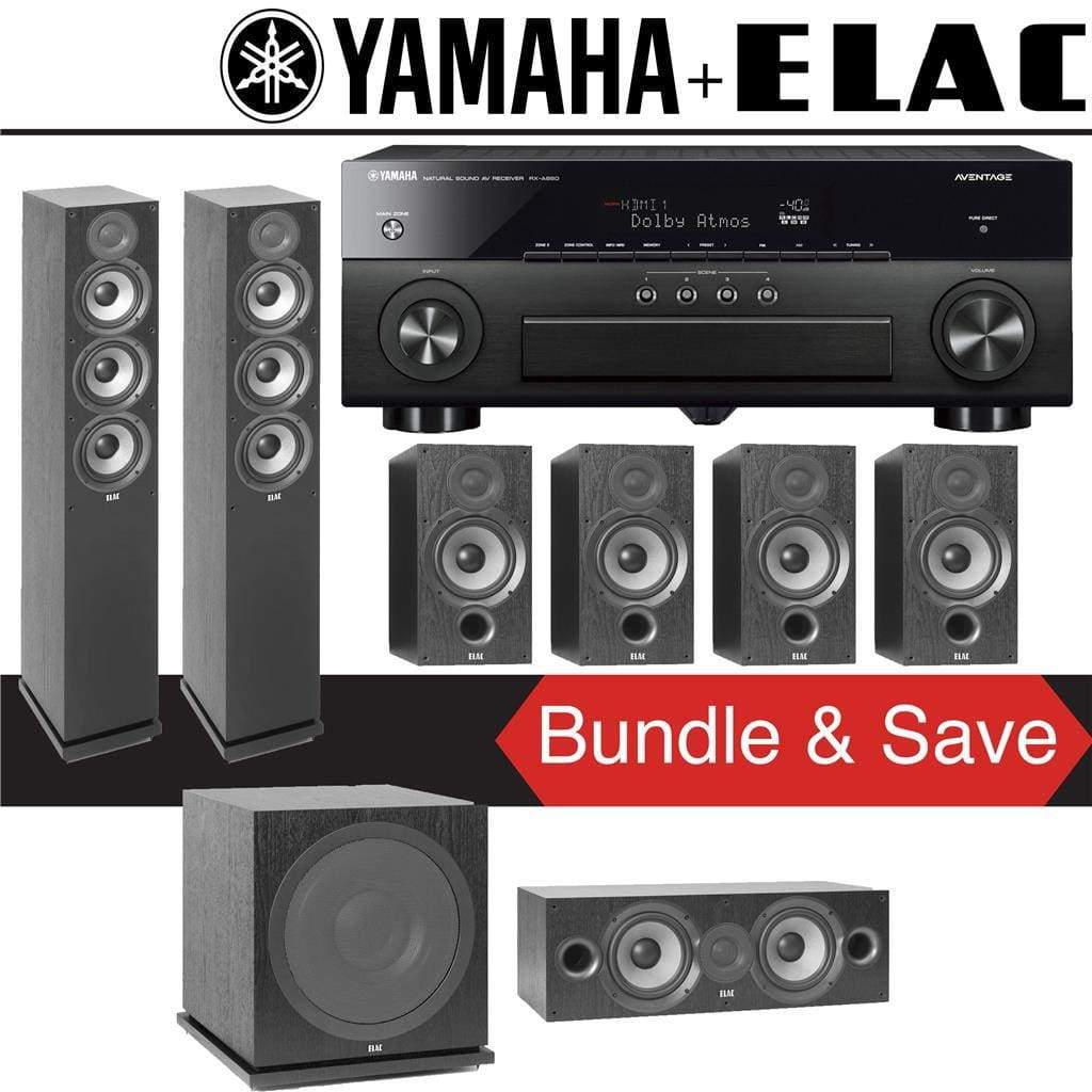Elac F5.2 Debut 2.0 7.1-Ch Home Theater Speaker System with Yamaha AVENTAGE RX-A880 7.2-Channel 4K Network AV Receiver - Stereo Advantage