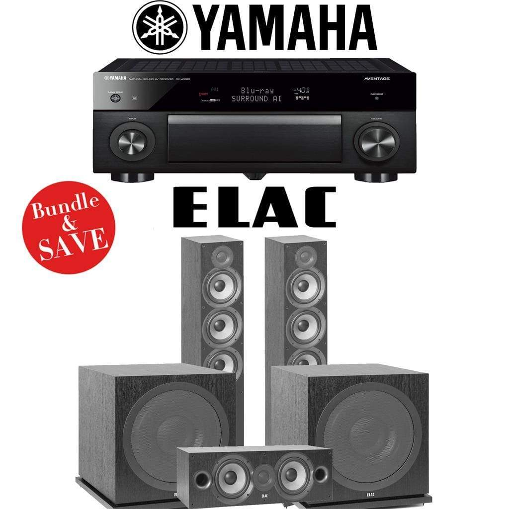 Elac F6.2 Debut 2.0 3.2-Ch Home Theater Speaker System with Yamaha AVENTAGE RX-A1080 7.2-Channel 4K Network AV Receiver - Stereo Advantage