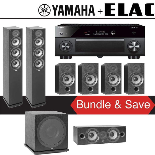 Elac F5.2 Debut 2.0 7.1-Ch Home Theater Speaker System with Yamaha AVENTAGE RX-A2080 9.2-Channel 4K Network AV Receiver