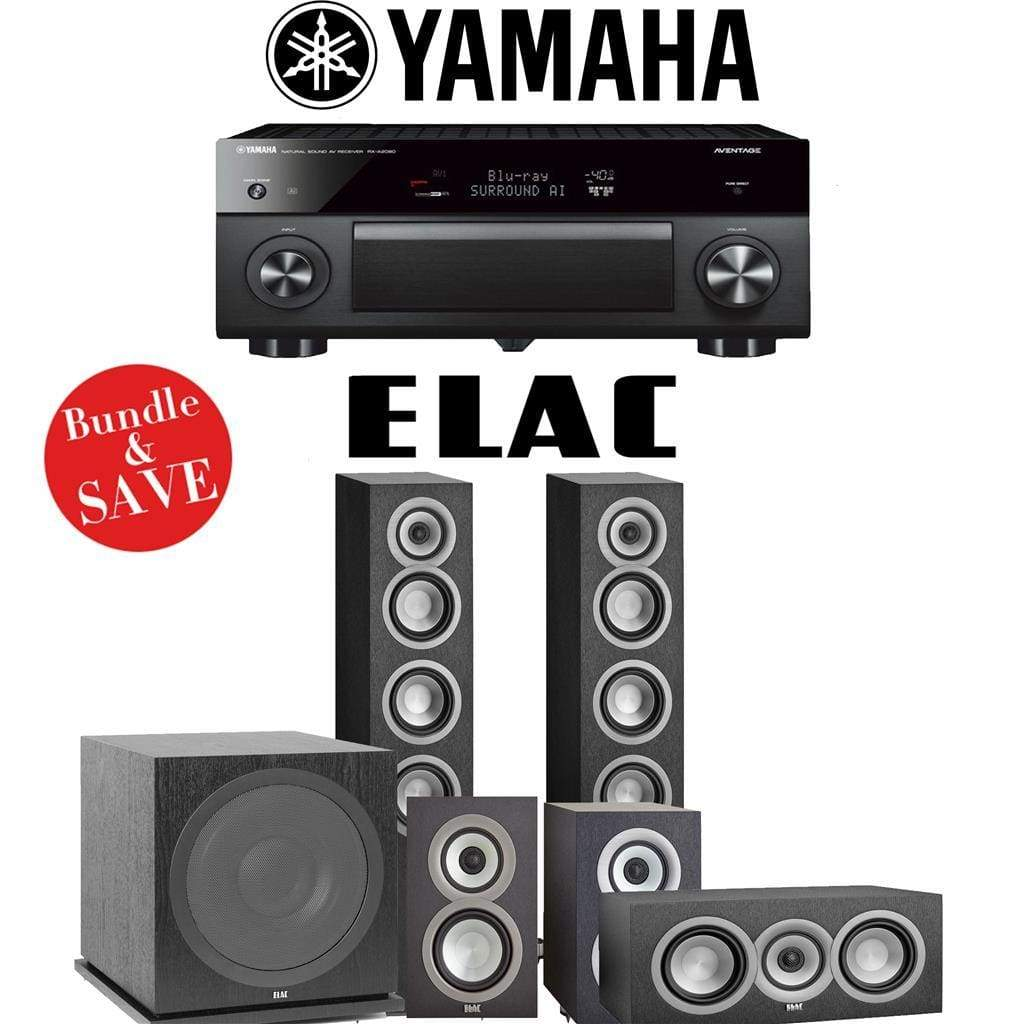 Elac Uni-Fi UF5 5.1-Ch Home Theater Speaker System with Yamaha AVENTAGE RX-A2080 9.2-Channel 4K Network A/V Receiver - Stereo Advantage