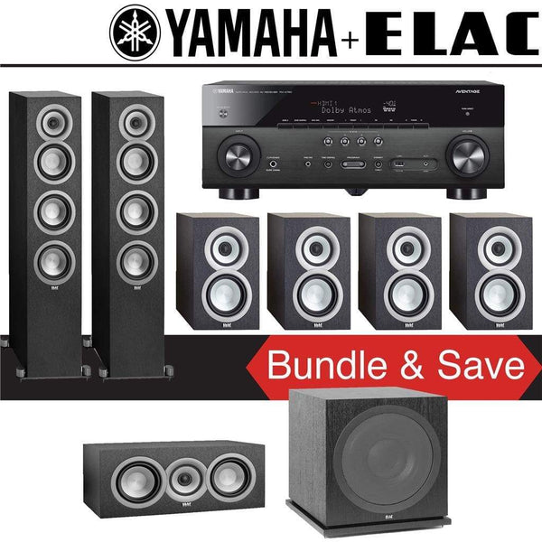 Elac Uni-Fi UF5 7.1-Ch Home Theater Speaker System with Yamaha AVENTAGE RX-A780 7.2-Channel 4K Network A/V Receiver