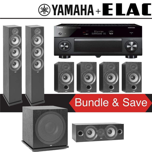 Elac F6.2 Debut 2.0 7.1-Ch Home Theater System with Yamaha AVENTAGE RX-A2080 9.2-Channel 4K Network AV Receiver