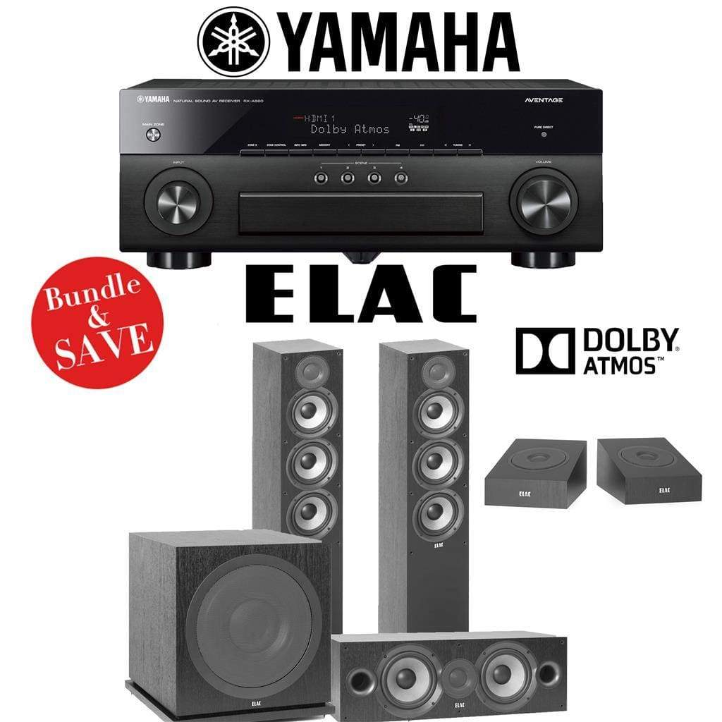 Elac F5.2 Debut 2.0 3.1.2-Ch Dolby Atmos Home Theater Speaker System with Yamaha AVENTAGE RX-A880 7.2-Channel 4K Network AV Receiver - Stereo Advantage