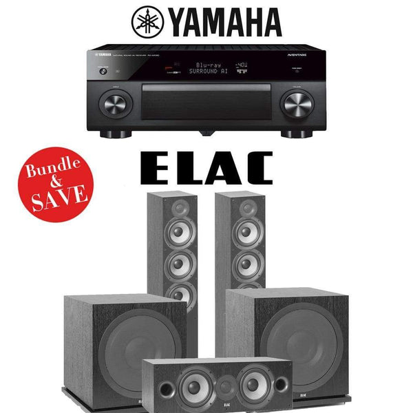 Elac F6.2 Debut 2.0 3.2-Ch Home Theater System with Yamaha AVENTAGE RX-A2080 9.2-Channel 4K Network AV Receiver