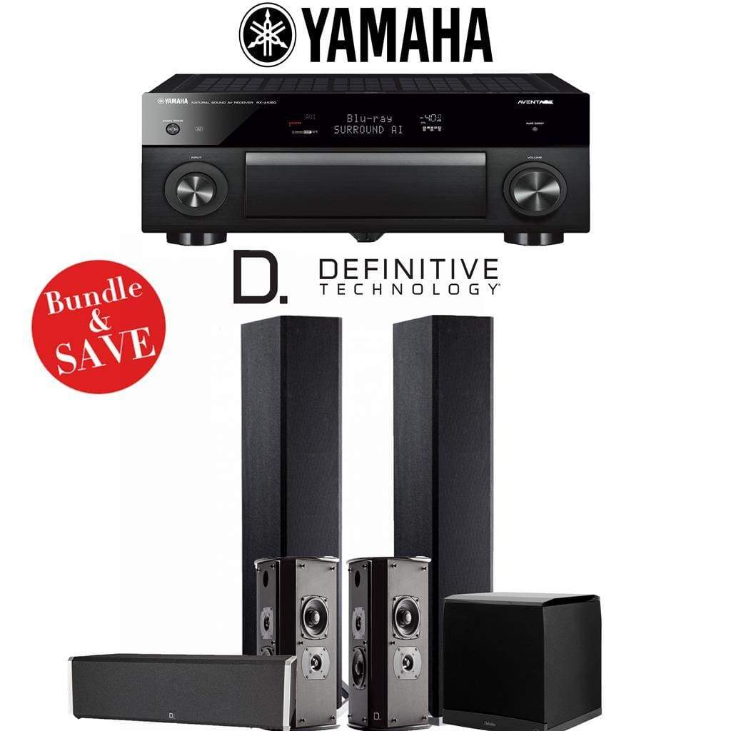 Definitive Technology BP9020 5.1-Ch High Performance Home Theater System with Yamaha AVENTAGE RX-A1080 7.2-Channel 4K Network A/V Receiver - Stereo Advantage