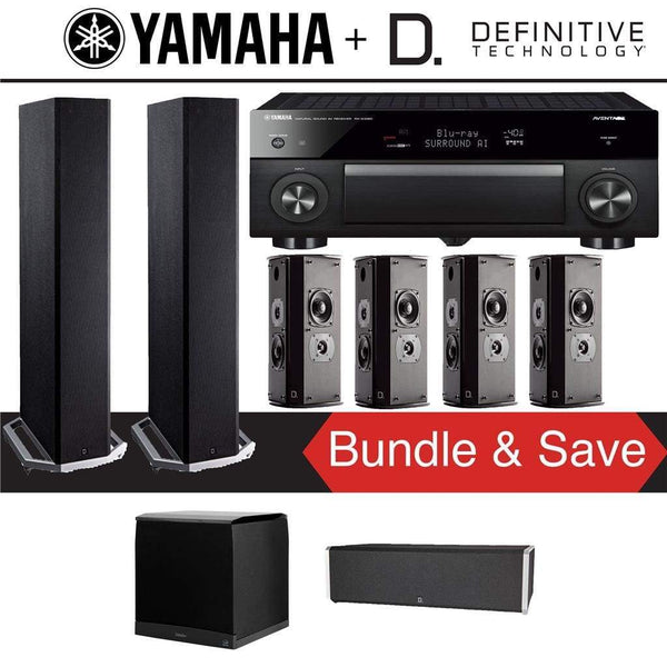 Definitive Technology BP9020 7.1-Ch High Performance Home Theater System with Yamaha AVENTAGE RX-A1080 7.2-Channel 4K Network A/V Receiver