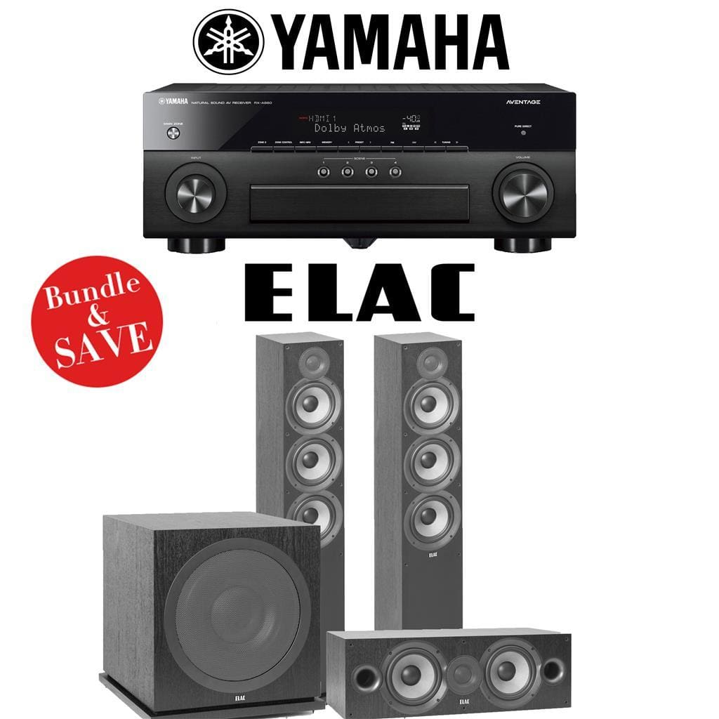 Yamaha AVENTAGE RX-A880 7.2-Ch 4K Network A/V Receiver + Elac F6.2 + Elac C6.2 + Elac Sub3030-3.1-Ch Home Theater Package - Stereo Advantage