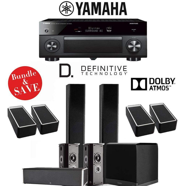 Definitive Technology BP9060 5.1.4-Ch High Performance Dolby Atmos Home Theater Speaker System with Yamaha AVENTAGE RX-A2080 9.2-Ch 4K Ne...