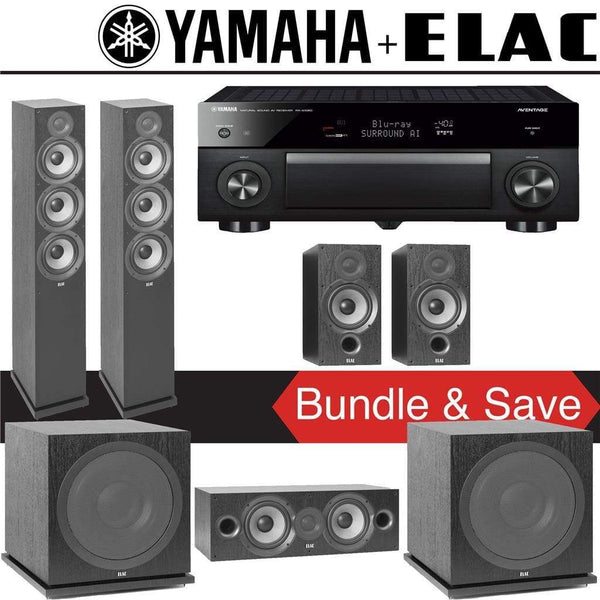 Elac F6.2 Debut 2.0 5.2-Ch Home Theater Speaker System with Yamaha AVENTAGE RX-A1080 7.2-Channel 4K Network AV Receiver