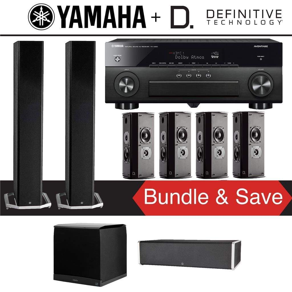 Definitive Technology BP9060 7.1-Ch High Performance Home Theater Speaker System with Yamaha AVENTAGE RX-A880BL 7.2-Ch 4K Network A/V Rec... - Stereo Advantage