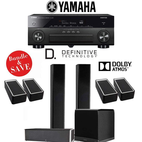 Definitive Technology BP9060 3.1.4-Ch Dolby Atmos High Performance Home Theater Speaker System with Yamaha AVENTAGE RX-A880BL 7.2-Ch 4K N...