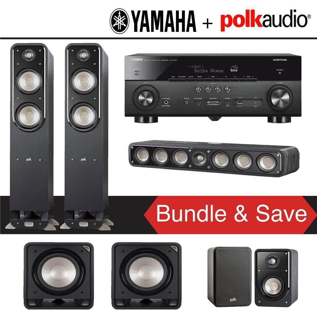 Polk Audio Signature S55 5.2-Ch Home Theater Speaker System with Yamaha RX-A780 AVENTAGE 7.2-Channel 4K Network A/V Receiver - Stereo Advantage