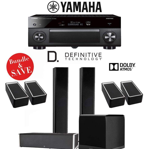 Definitive Technology BP9060 3.1.4-Ch Dolby Atmos High Performance Home Theater Speaker System with Yamaha AVENTAGE RX-A3080 9.2-Ch 4K Ne...