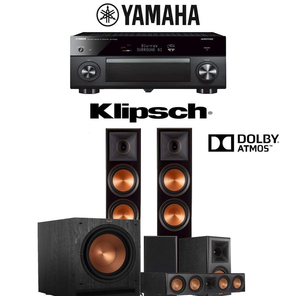 Klipsch RP-8060FA 5 1 2-Ch Reference Premiere Dolby Atmos Home Theater  Speaker System with Yamaha AVENTAGE RX-A2080 9 2-Channel 4K Networ