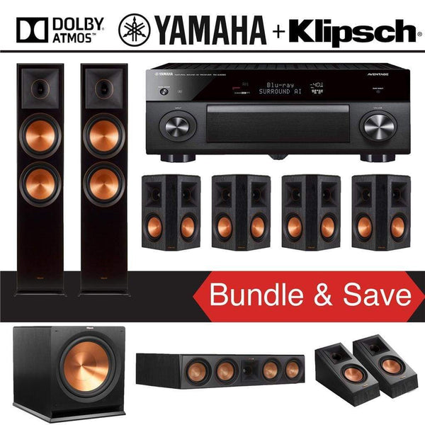 Klipsch Reference Premiere RP-8000F 7.1.2 Dolby Atmos Home Theater System with Yamaha AVENTAGE RX-A3080 9.2-Channel 4K Home Theater AV Re...