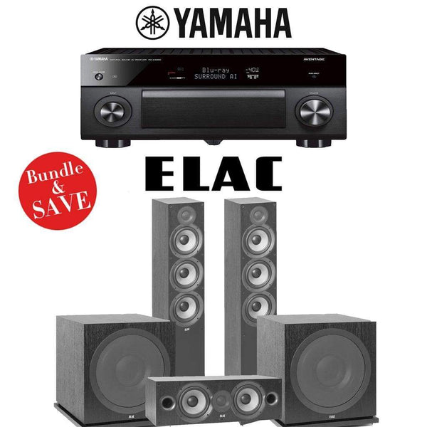 Elac F6.2 Debut 2.0 3.2-Ch Home Theater Speaker System Yamaha AVENTAGE RX-A3080 9.2-Channel 4K Network AV Receiver