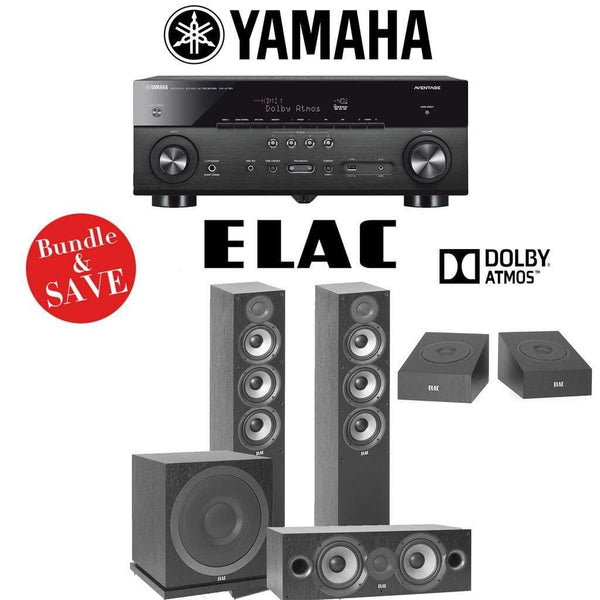 Elac F5.2 Debut 2.0 3.1.2-Ch Dolby Atmos Home Theater Speaker System with Yamaha RX-A780 7.2-Channel 4K Network A/V Receiver