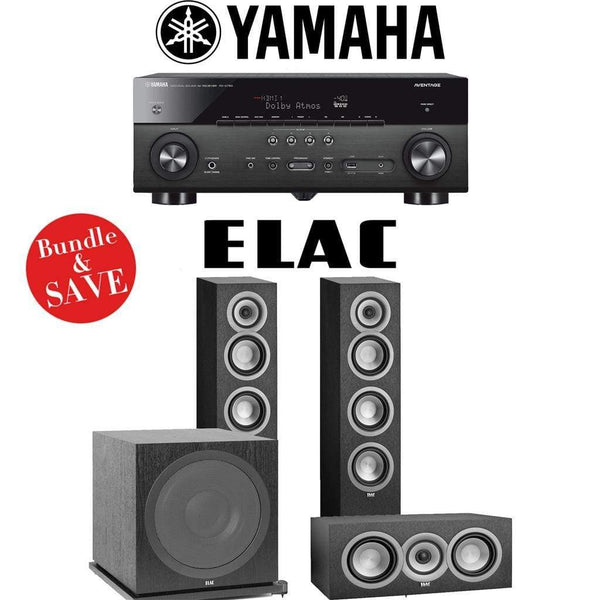 Elac Uni-Fi UF5 3.1-Ch Home Theater Speaker System with Yamaha AVENTAGE RX-A780 7.2-Channel 4K Network A/V Receiver