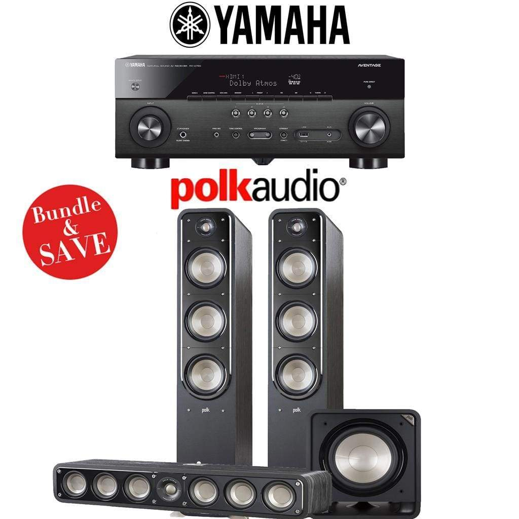 Polk Audio Signature S60 3.1-Ch Home Theater Speaker System with Yamaha RX-A780 AVENTAGE 7.2-Channel 4K Network A/V Receiver - Stereo Advantage