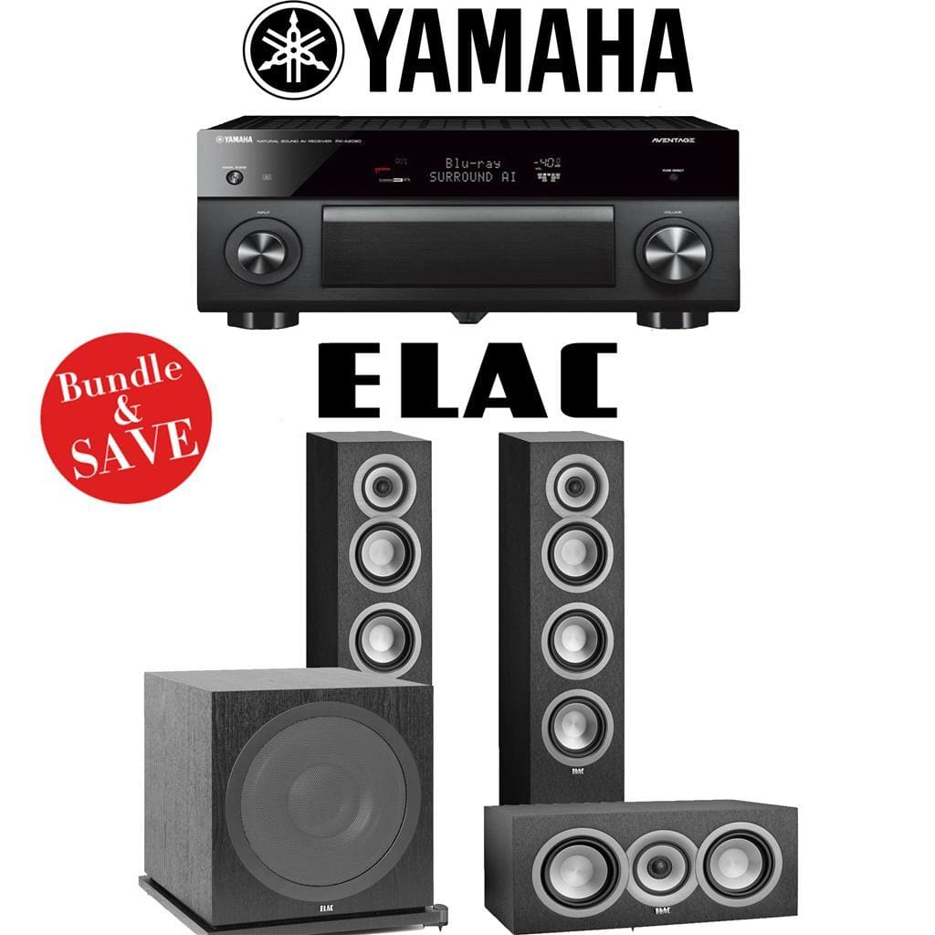 Yamaha AVENTAGE RX-A2080 9.2-Channel 4K Ultra HD AV Receiver + Elac UF5 + Elac UC5 + Elac Sub3030-3.1-Ch Home Theater Package - Stereo Advantage