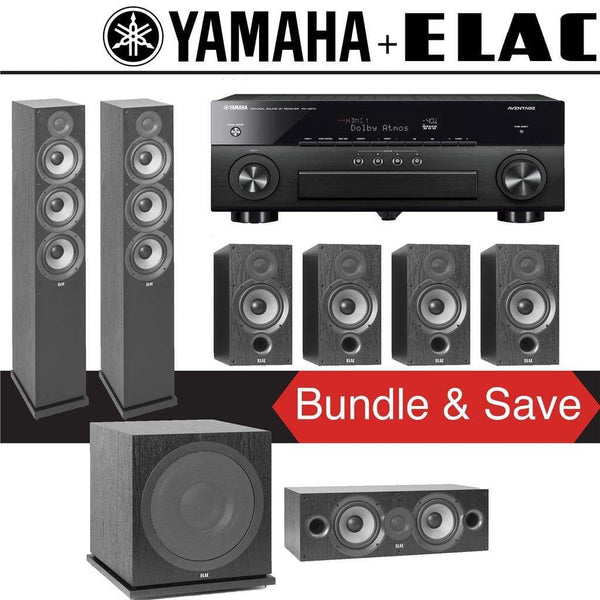 Elac F6.2 Debut 2.0 7.1-Ch Home Theater Speaker System with Yamah RX-A780 7.2-Channel 4K Network A/V Receiver
