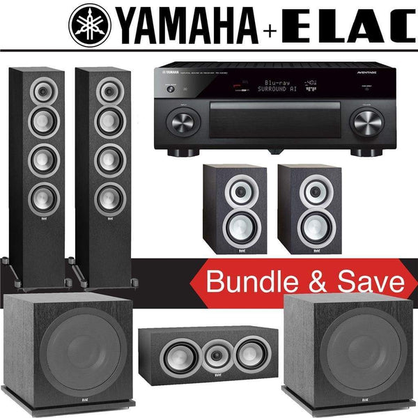 Elac Uni-Fi UF5 5.2-Ch Home Theater Speaker System with Yamaha AVENTAGE RX-A2080 9.2-Channel 4K Network A/V Receiver