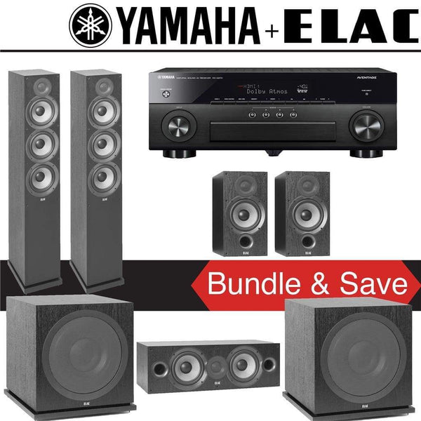 Elac F6.2 Debut 2.0 5.2-Ch Home Theater Speaker System with Yamah RX-A780 7.2-Channel 4K Network A/V Receiver