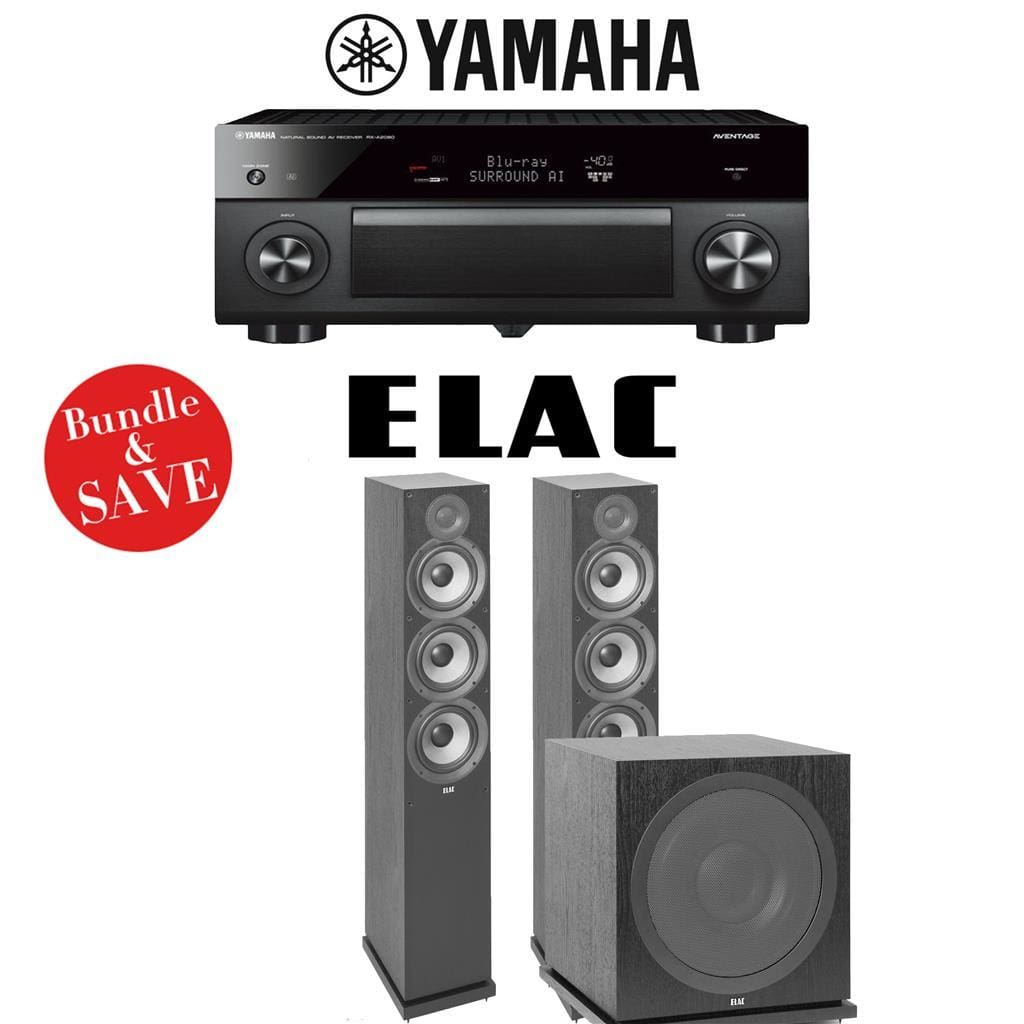 Yamaha AVENTAGE RX-A2080 9.2-Channel 4K Ultra HD AV Receiver + Elac F6.2 + Elac Sub3030-2.1-Ch Home Theater Package - Stereo Advantage