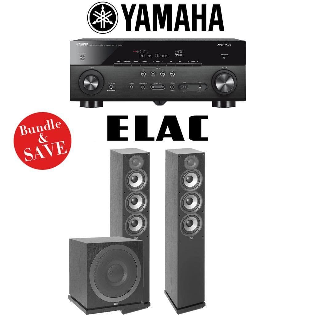 Yamaha RX-A780 AVENTAGE 7.2-Channel AV Receiver + Elac F5.2 + Elac Sub3010-2.1-Ch Home Theater Package - Stereo Advantage