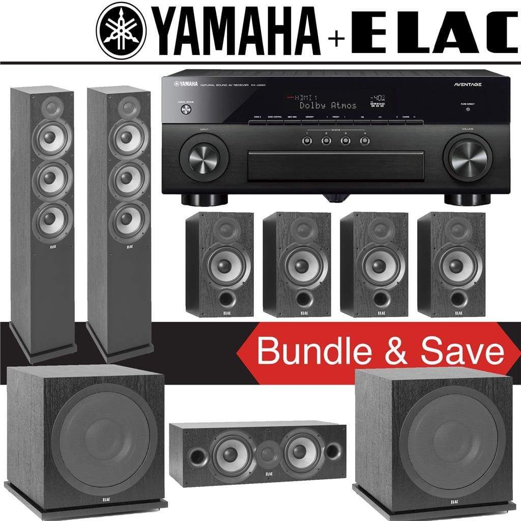Elac F6.2 Debut 2.0 7.2-Ch Home Theater System with Yamaha AVENTAGE RX-A880 7.2-Channel 4K Networking AV Receiver - Stereo Advantage