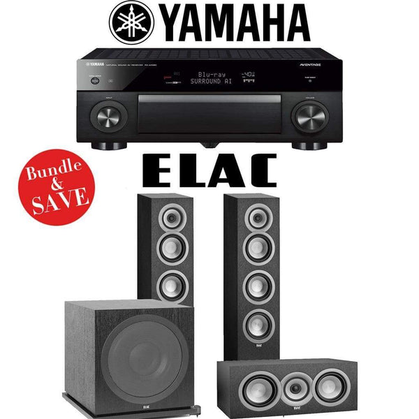 Elac Uni-Fi UF5 3.1-Ch Home Theater Speaker System with Yamaha AVENTAGE RX-A1080 7.2-Channel 4K Network A/V Receiver