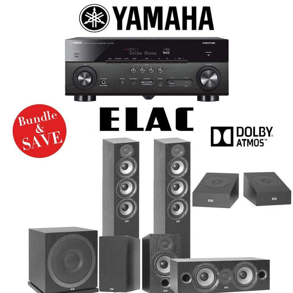 Elac F5.2 Debut 2.0 5.1.2-Ch Dolby Atmos Home Theater Speaker System with Yamaha RX-A780 7.2-Channel 4K Network A/V Receiver
