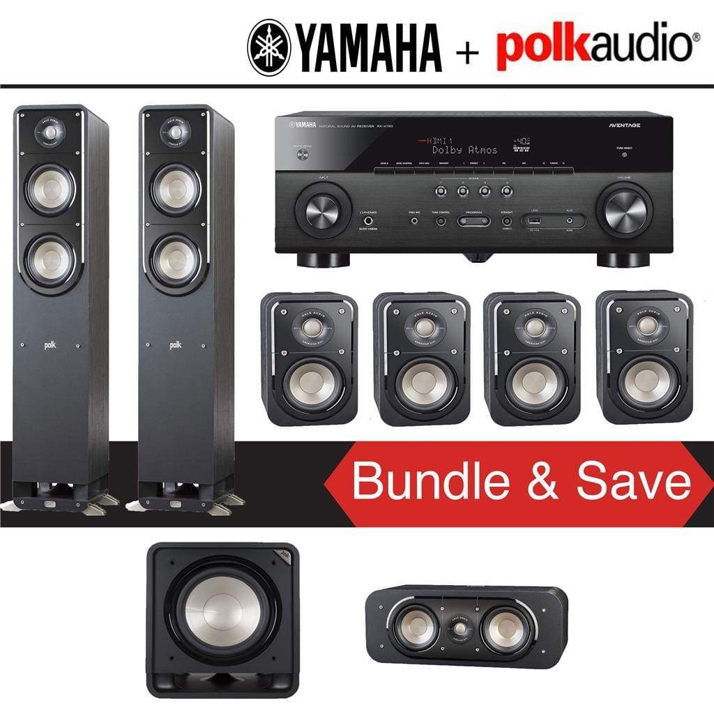 Polk Audio Signature S50 7.1-Ch Home Theater Speaker System with Yamaha RX-A780 AVENTAGE 7.2-Channel 4K Network A/V Receiver - Stereo Advantage